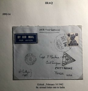 1942 Kirkuk Iraq Indian Base FPO Censored Airmail OAs Cover To Chittagong India