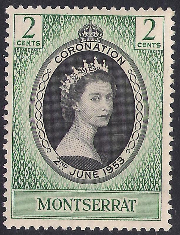 Montserrat 1953 QE2 2ct Black & Emerald Coronation MM SG 291 ( L1144 )