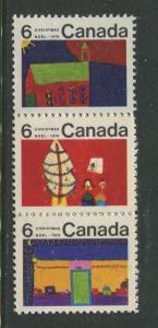 STAMP STATION PERTH Canada #524-528 Christmas 1970 MNH Strip of 3 CV$1.00