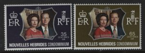 FRENCH NEW HEBRIDES  188-189 MNH SILVER WEDDING SET 1972