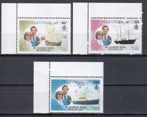 Seychelles (Zil Elwannyen Sesel), Sc 23, 25, 27, MNH, 1981, Royal Wedding