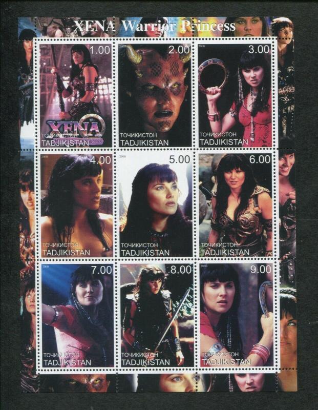 Tajikistan Commemorative Souvenir Stamp Sheet - Xena Warrior Princess
