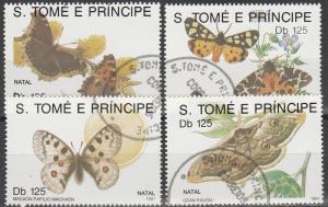 St Thomas & Prince Is #1037-40 F-VF Used CV $7.00  (S9465)