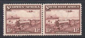South West Africa 1937 KGVI 1½d Trains pair SG 96 mint