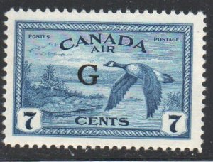 Canada Sc CO2 1950 G ovpt on 7c Goose Airmail Official stamp mint