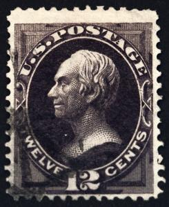 #162 12 Blackish Violet 1874 Used with Neat Face Free Cancel