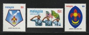 MALAYSIA 1974 Scout Jamboree set of 3V MLH SG#117-119