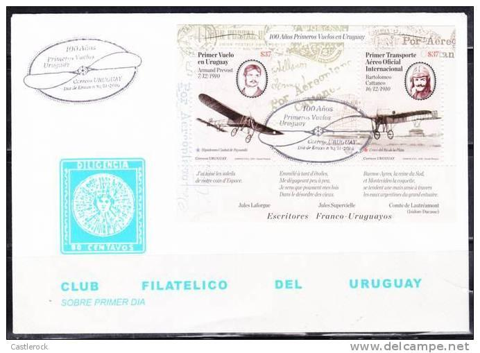 0)2010 URUGUAY,100 YEARS FIRST FLIGHT IN URUGUAY,FIRST DAY COVER.