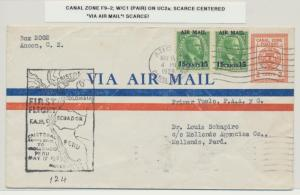 CANAL ZONE 1929 1st FLIGHT TO PERU, 2c ENVELOPE(UC2a)+C1 PAIR (SEE BELOW)