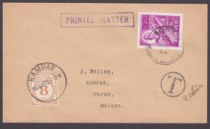 NORTH BORNEO TO PERAK MALAYA 1954 cover with 8c postage due at Kampar......87371