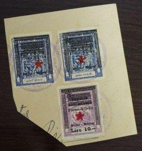 Fiume c1946 Croatia Italy Yugoslavia Revenue Stamps On Fragment  C8