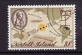 Norfolk Is.-Sc#122- id5-used 10c Capt. Cook-Maps-1969-