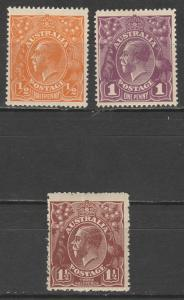 AUSTRALIA 1918 KGV 1/2D 1D AND 11/2D SINGLE WMK MNH **