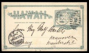 USA 1898 Honolulu Hawaii Postal Stationery Germany 2c Map Germany 95620