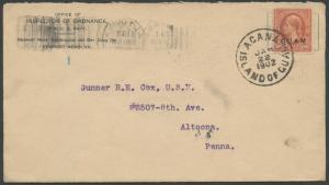 GUAM #11 ON COVER JAN22,1902 ACANA ISLAND OF GUAM CV $1,500 BS8317 HS108888