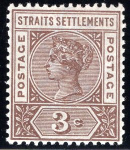 85 Straits Settlements, 3 Cents, brown, MLHOG, 1899