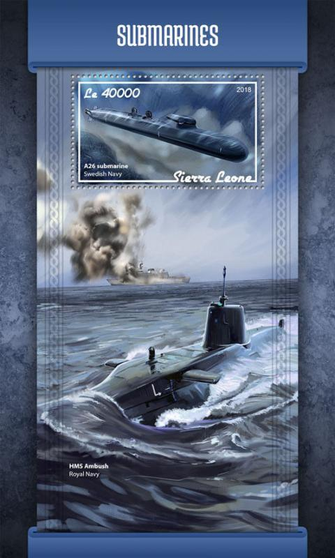 Sierra Leone 2018 MNH Submarines A26 Submarine 1v S/S Boats Ships Stamps