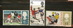 Great Britain Scott 458-60 used 1966  soccer set