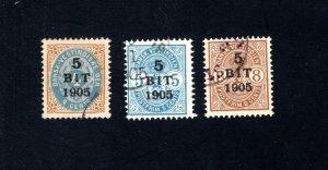 Danish West Indies #40-42,  F/VF,  Used, CV $147.50 ....1630040
