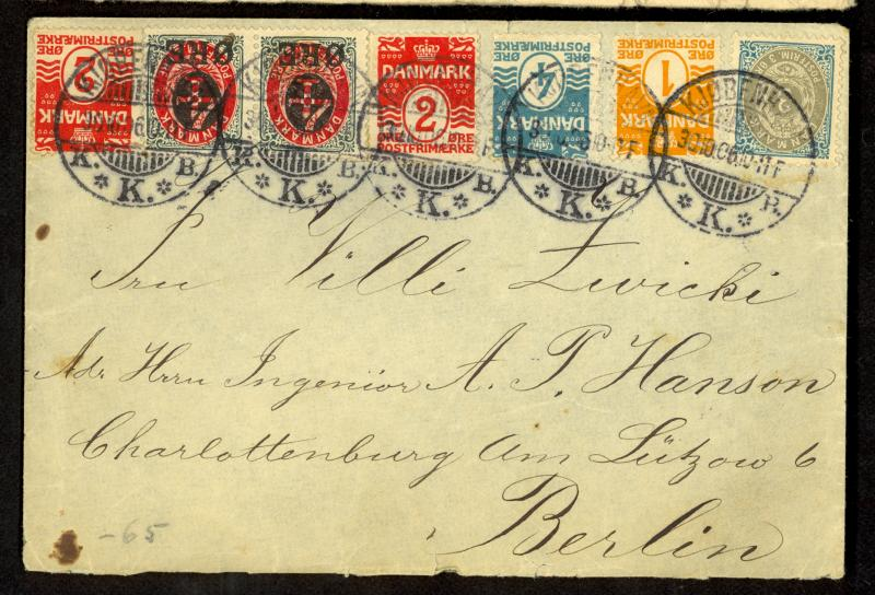 DENMARK 1906 7 Stamp Cover to GERMANY with 2x 1904 4o on 8o Sc 55