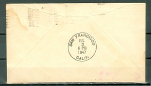 INDIA 1947 1st CLIPPER AIRMAIL FLIGHT COVER to USA