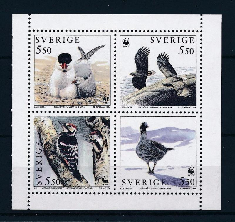 [53552] Sweden 1994 Birds Vögel Oiseaux Ucelli WWF from booklet MNH