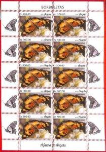 A1555 - ANGOLA - ERROR: MISSPERF   FULL SHEET x10 - 2019, Butterflies
