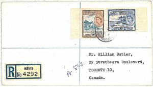PALM TREES - ST CHRISTOPHER NEVIS ANGUILLA -  POSTAL HISTORY: REGISTERED COVER