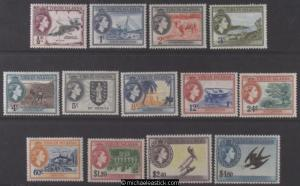 1956-62 British Virgin Islands QE Pictorials, Set of 13, SG 149-161, MH
