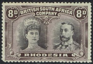 RHODESIA 1910 KGV DOUBLE HEAD 8D DULL PURPLE & PURPLE PERF 14