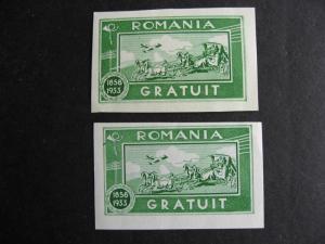 ROMANIA 2 MNG postal tax labels, one regular, one has printing flaw, error!