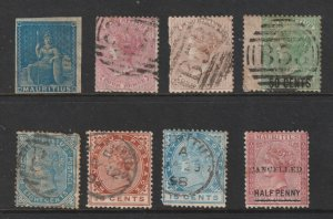 Mauritius a small lot of QV used + odd mint