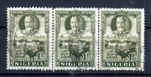 Nigeria 1936 KGV 1/- olive green used strip of 3 SG#41 WS16237