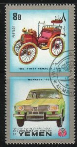 Antique Car, Renault 1970 & The First Renault 1898, Yemen stamp used
