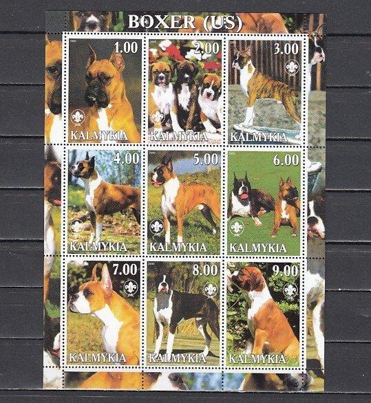 Kalmykia, 2000. Russian Local. U.S. Boxer, Dogs sheet of 9. ^