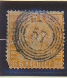 Baden (German State) Stamp Scott #13, Used, Faults - Free U.S. Shipping, Free...