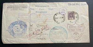1937 Suva Fiji Matson Co Tin Can Canoe Mail cover To Niuafoou Tonga Toga
