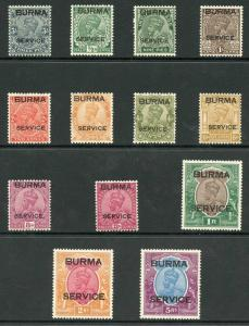 Burma SGO1/O13 1937 Service set to 5R Fresh M/Mint