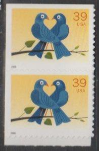 U.S. Scott #4029 Love Bird Booklet Stamp - Mint NH Coil Pair