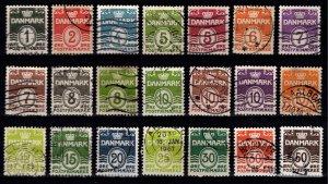 Denmark 1933-2004 Definitives, quadrille background perf 13, Part Set [Used]