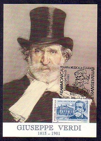 Romania, 2001 issue. 12/SEP/01 issue. Giuseppe Verdi Maximum Card  #2. ^