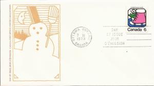 1973 Canada- FDC - Sc 625 - Christmas - Ice Skate