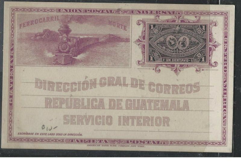 GUATEMALA  (PP1104B)  TRAIN PICTURE 1C PSC  UNUSED