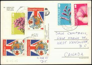 GIBRALTAR MULTI STAMP  ON  POST CARD  TO CANADA 102