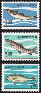 Korea (South) #496-498 set/3 mnh - 1965 Wildlife series - fish - pollack trout
