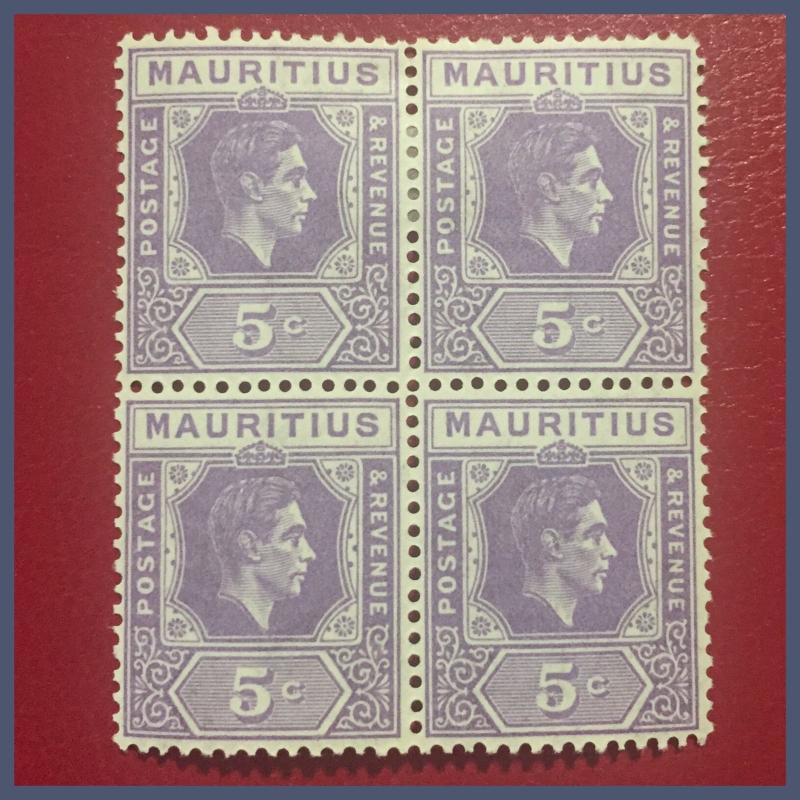 Mauritius KGVI - 1942 Block Of 4 : 5 Cents  Pale Lilac MM/MNH