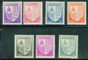 Andorre (French ) Andorra Scott 78-84 MH* coat of arms set
