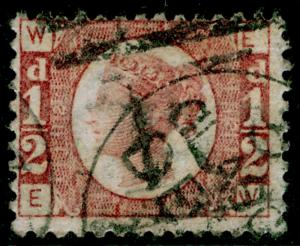 SG49, ½d rose PLATE 12, USED. Cat £25. EW