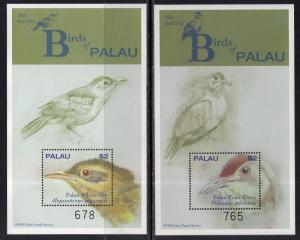 Palau 555-556 Birds Souvenir Sheets MNH VF