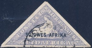 South West Africa (Namibia)1920 Sc B2 Triangle Semi-postal Imperf Stamp Used